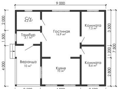 Картинка (8) Планировка дома 1-й вариант (ДБ-17)
