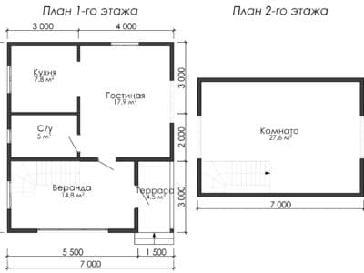 Картинка (5) Планировка 1-го и 2-го этажа (ДБ-178)