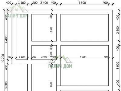 Картинка (7) План ленточного фундамента дома из бруса 8х9 (ДБ-44)