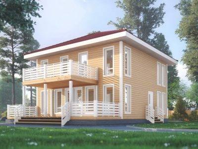 ДБ-174 | Двухэтажный дом из бруса 9х9