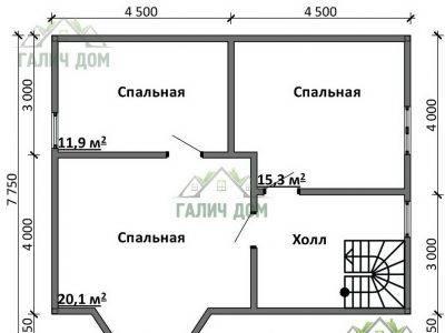 Картинка (6) План 2-го этажа дома 8х10 (ДБ-91)