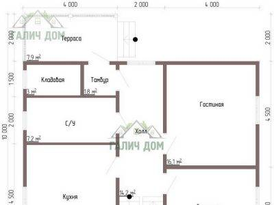 Картинка (4) Планировка 1-го этажа (ДБ-109)