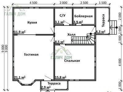 Картинка (5) План 1-го этажа дома 9х10 (ДБ-92)