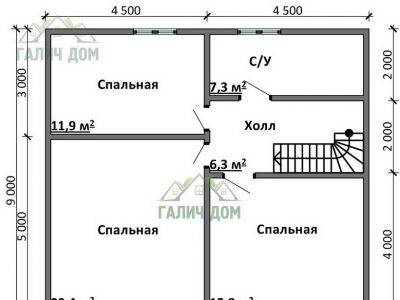 Картинка (6) План 2-го этажа дома 9х10 (ДБ-92)