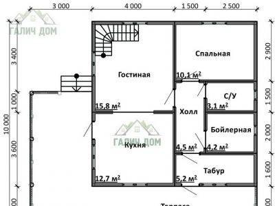 Картинка (5) План 1-го этажа дома 8х8 (ДБ-94)