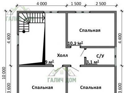 Картинка (6) План 2-го этажа дома 8х8 (ДБ-94)