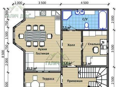 Картинка (5) План 1-го этажа дома 8х9 (ДБ-95)