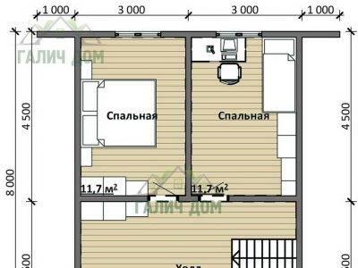 Картинка (6) План 2-го этажа дома 8х9 (ДБ-95)