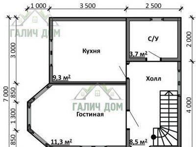 Картинка (5) Планировка 1-го этажа дома 7х7 (ДБ-97)