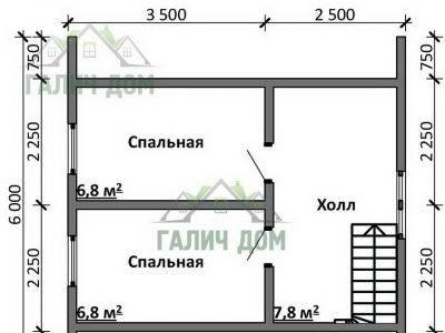 Картинка (6) Планировка 2-го этажа дома 7х7 (ДБ-97)