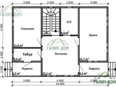Картинка (7) Планировка 1-го этажа дома 7х10 (ДБ-98)