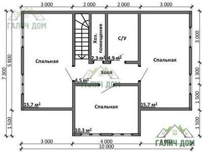 Картинка (8) Планировка 2-го этажа дома 7х10 (ДБ-98)