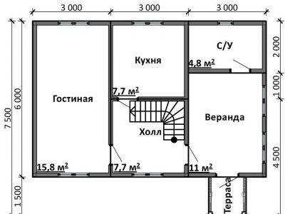 Картинка (5) Планировка 1-го этажа дома 7 на 9 (ДБ-99)