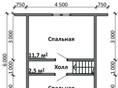 Картинка (6) Планировка 2-го этажа дома 7 на 9 (ДБ-99)