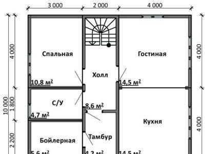 Картинка (5) Планировка 1-го этажа дома 9 на 10 (ДБ-85)