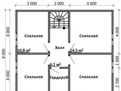 Картинка (6) Планировка 2-го этажа дома 9 на 10 (ДБ-85)