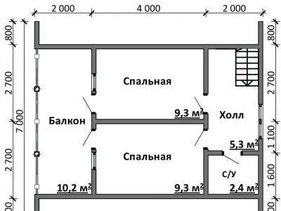 Картинка (6) Планировка 2-го этажа дома 7х8 (ДБ-100)