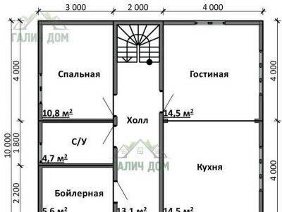 Картинка (5) Планировка 1-го этажа дома (ДБ-104)