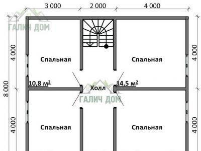 Картинка (6) Планировка 2-го этажа дома (ДБ-104)