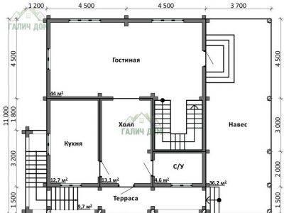 Картинка (5) Планировка 1-го этажа дома (ДБ-105)
