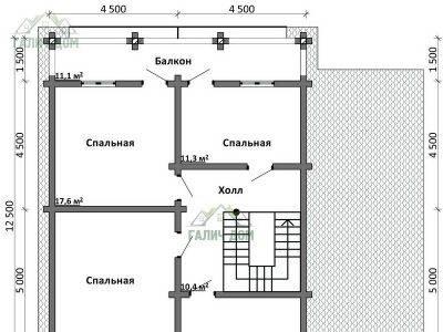 Картинка (6) Планировка 2-го этажа дома (ДБ-105)
