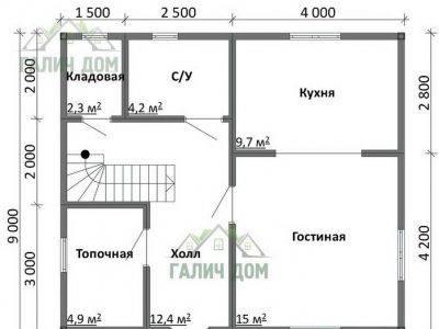 Картинка (5) Планировка 1-го этажа дома 8х9 (ДБ-106)