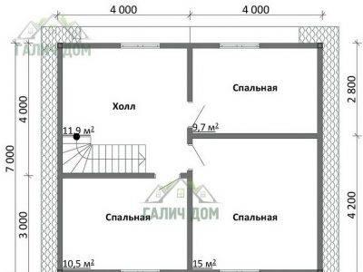 Картинка (6) Планировка 2-го этажа дома 8х9 (ДБ-106)