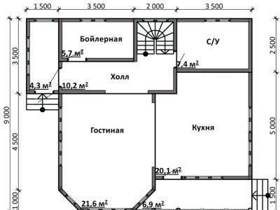 Картинка (5) Планировка 1-го этажа дома 10х9 (ДБ-86)