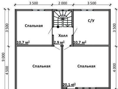 Картинка (6) Планировка 2-го этажа дома 10х9 (ДБ-86)