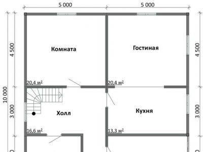 Картинка (5) Планировка 1-го этажа дома (ДБ-107)