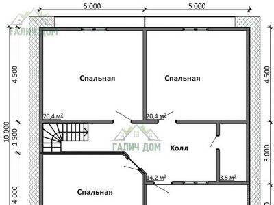 Картинка (6) Планировка 2-го этажа дома (ДБ-107)