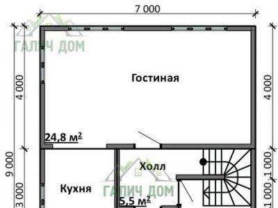 Картинка (5) План 1-го этажа дома 7х9 (ДБ-87)