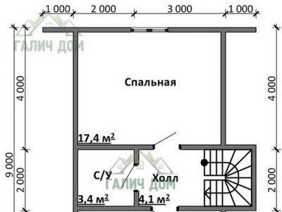 Картинка (6) План 2-го этажа дома 7х9 (ДБ-87)