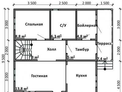 Картинка (5) План 1-го этажа дом 9 на 9 (ДБ-88)