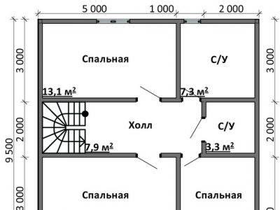Картинка (6) План 2-го этажа дом 9 на 9 (ДБ-88)