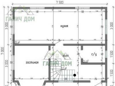 Картинка (5) Планировка 1-го этажа дома из бруса 7х7,5 с мансардой (ДБ-30)