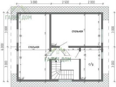 Картинка (6) Планировка 2-го этажа дома из бруса 7х7,5 с мансардой (ДБ-30)