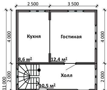 Картинка (5) План 1-го этажа дома 6х11 (ДБ-89)