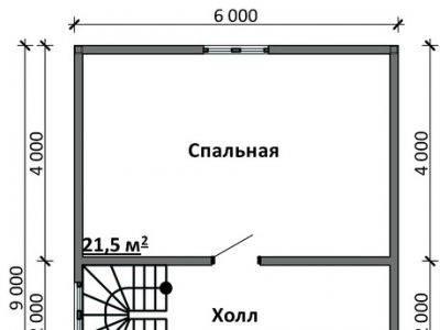 Картинка (6) План 2-го этажа дома 6х11 (ДБ-89)