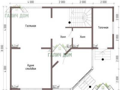 Картинка (6) Планировка 1-го этажа дома 8х8 (ДБ-69)