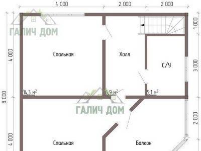 Картинка (7) Планировка 2-го этажа дома 8х8 (ДБ-69)