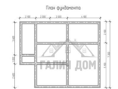 Картинка (7) План фундамента дома из бруса 7х10 (ДБ-23)