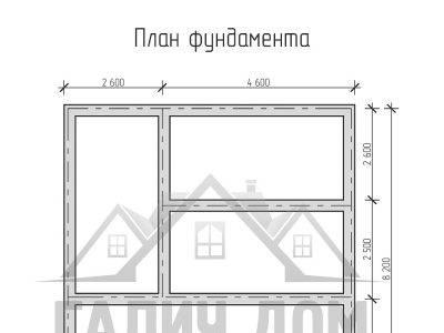Картинка (7) План фундамента дома из бруса 7х8 (ДБ-10)