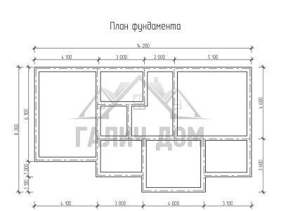 Картинка (7) Планировка фундамента дома 8х14 (ДБ-66)