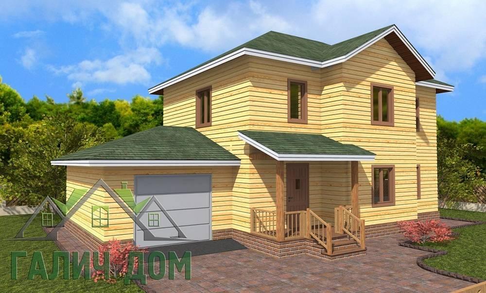 Картинка (1) Дом из бруса 8х14 с гаражом (ДБ-66)