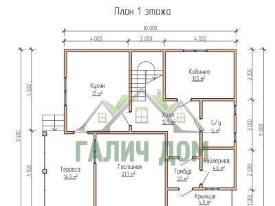 Картинка (5) Планировка 1-го этажа дома из бруса 9х10 (ДБ-68)
