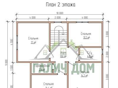 Картинка (6) Планировка 2-го этажа дома из бруса 9х10 (ДБ-68)