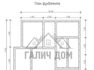 Картинка (7) План фундамента дома из бруса 9х10 (ДБ-68)