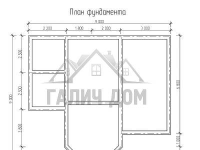 Картинка (7) Планировка фундамента дома 9х9 (ДБ-67)