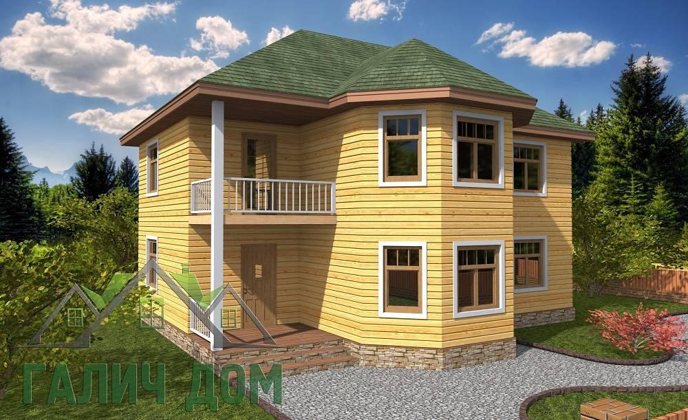 Картинка (1) Двухэтажный дом из бруса 9х9 с эркером (ДБ-67)
